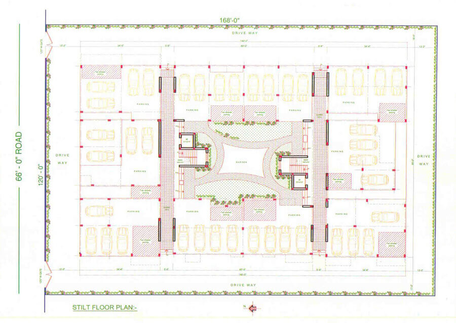 Apartment of alagappa enclave 39 s plans from karaikudi for Stilt plan